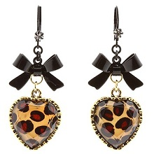 Betsey Johnson Leopard Heart Black Bow Earrings